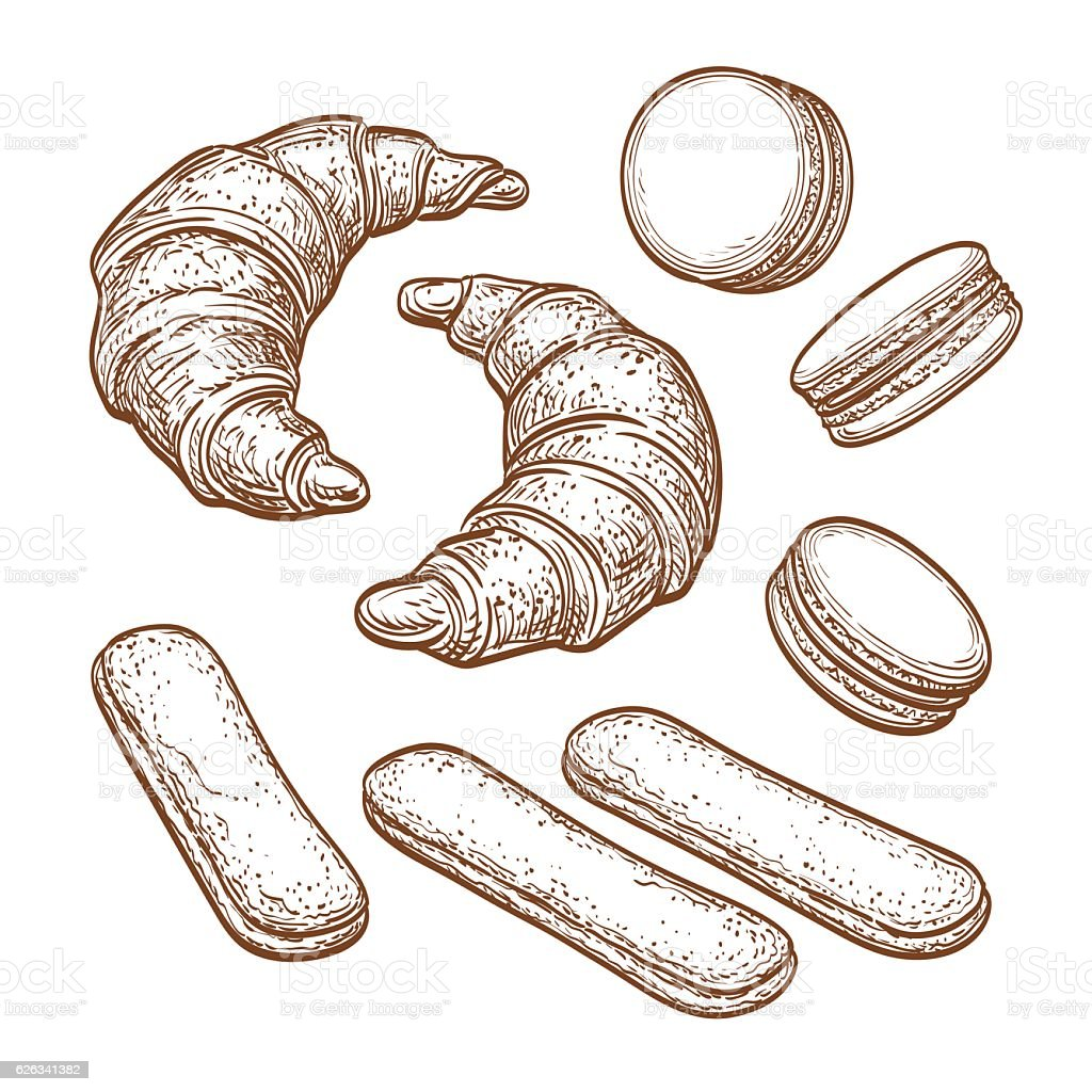 Pastry sweets collection vector art illustration