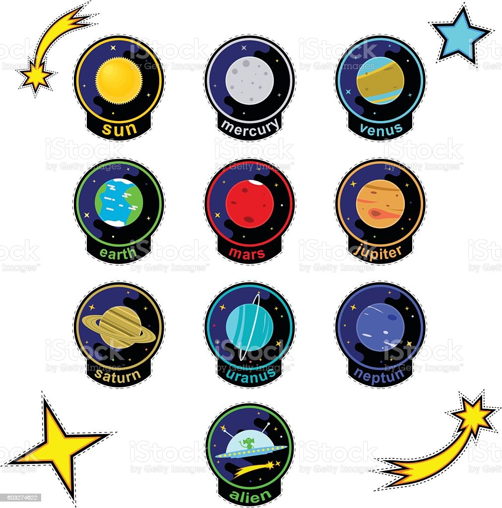 Patch badges with planets of solar system, stars, comets and vector art illustration