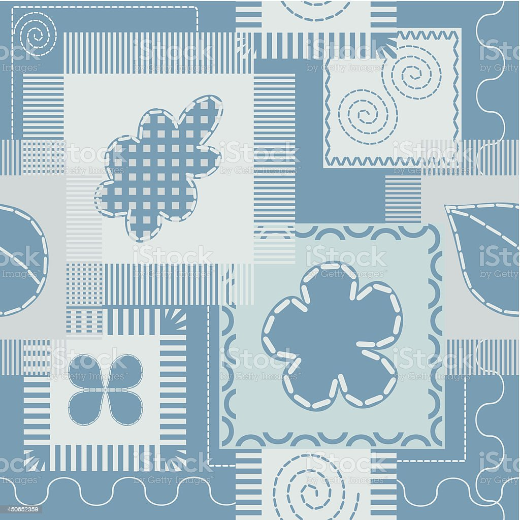 Patches and stitch seamless pattern royalty-free stock vector art