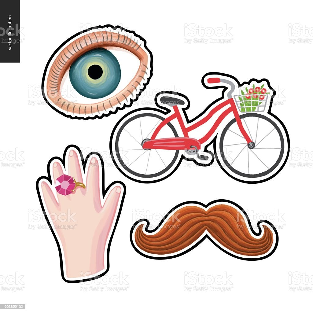 Patches hand drawn set vector art illustration