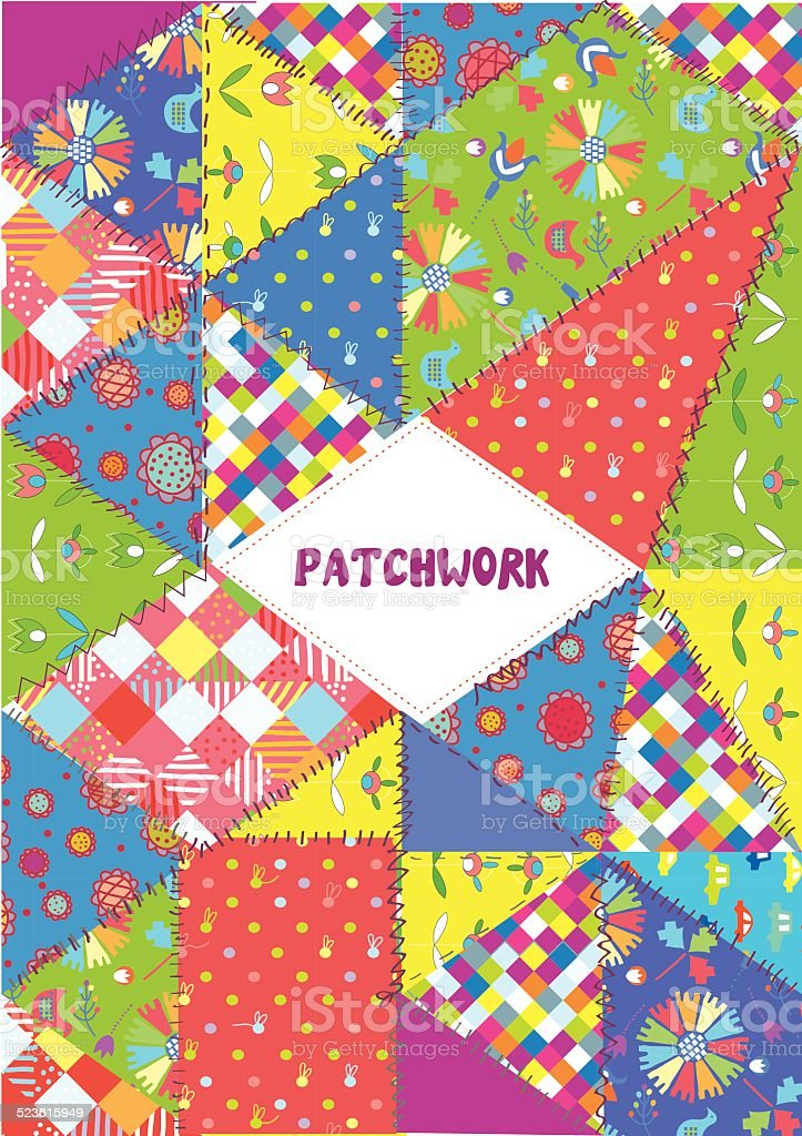 Patchwork cover or placard - funny design vector vector art illustration