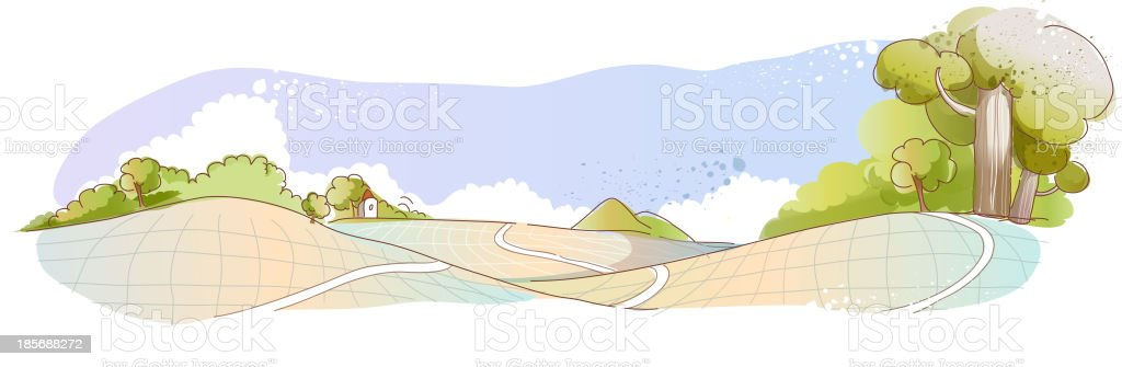 Patchwork fields vector art illustration