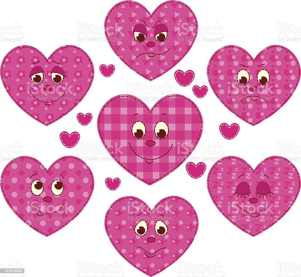 Patchwork hearts royalty-free stock vector art