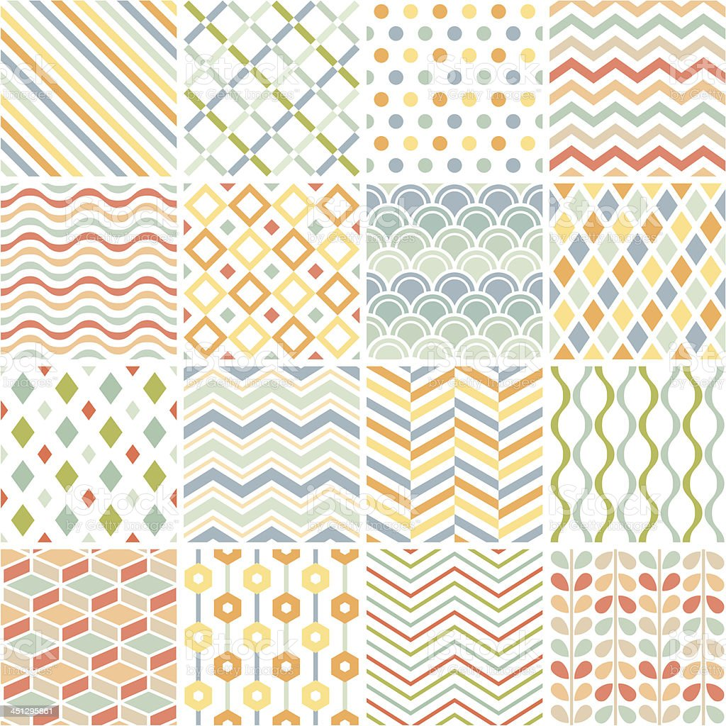 Patchwork of 16 geometric patterns on white vector art illustration