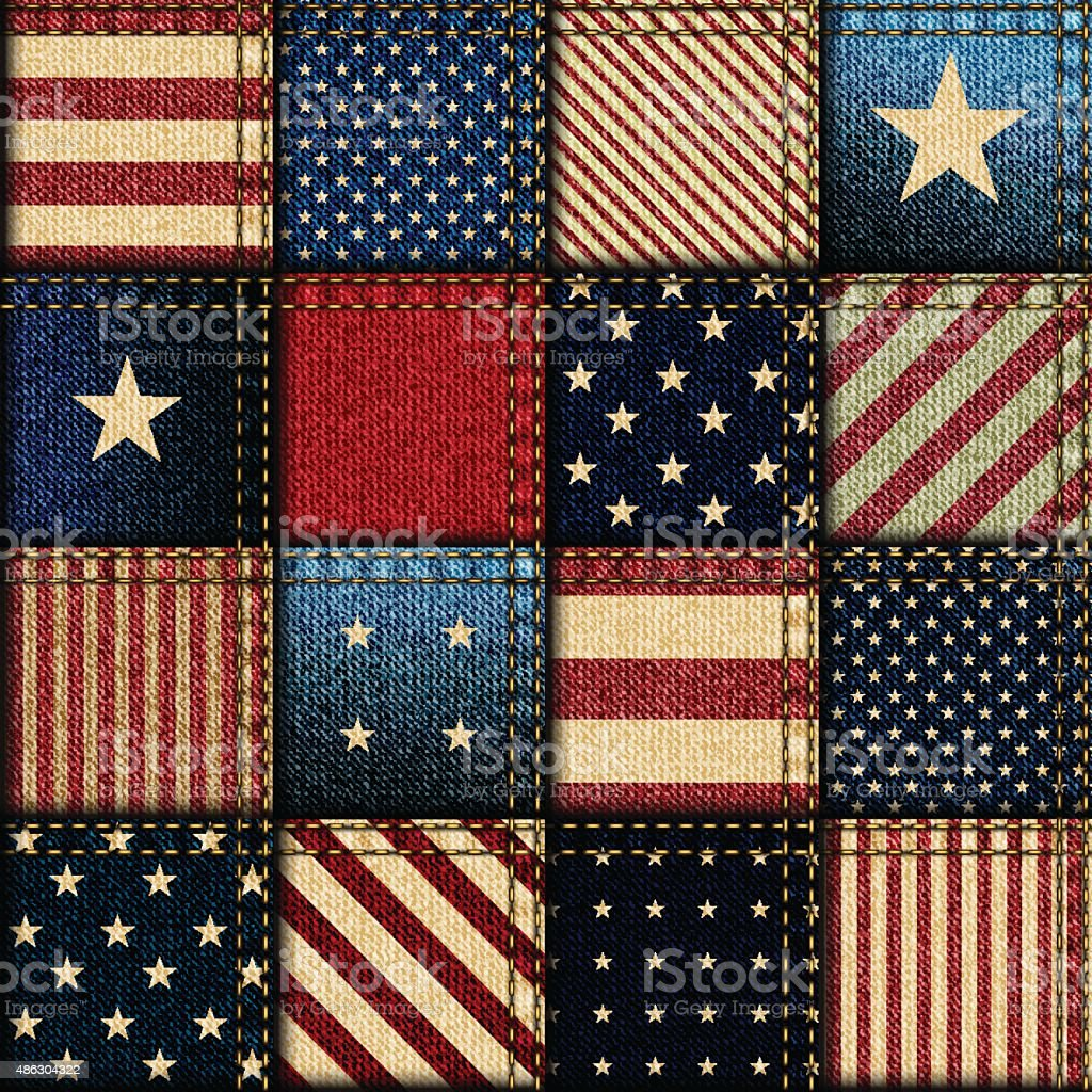 Patchwork of American flag vector art illustration