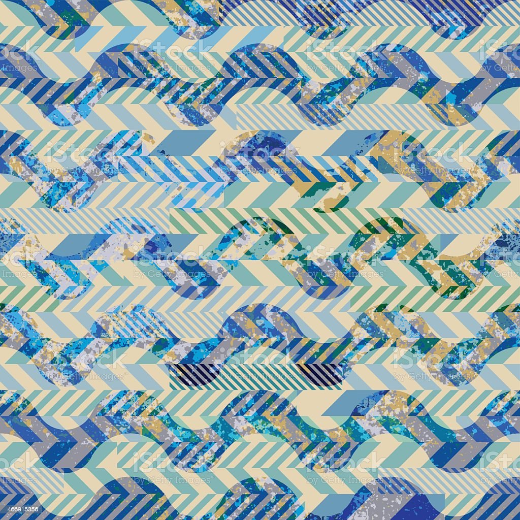 Patchwork of striked patches and grunge waves vector art illustration