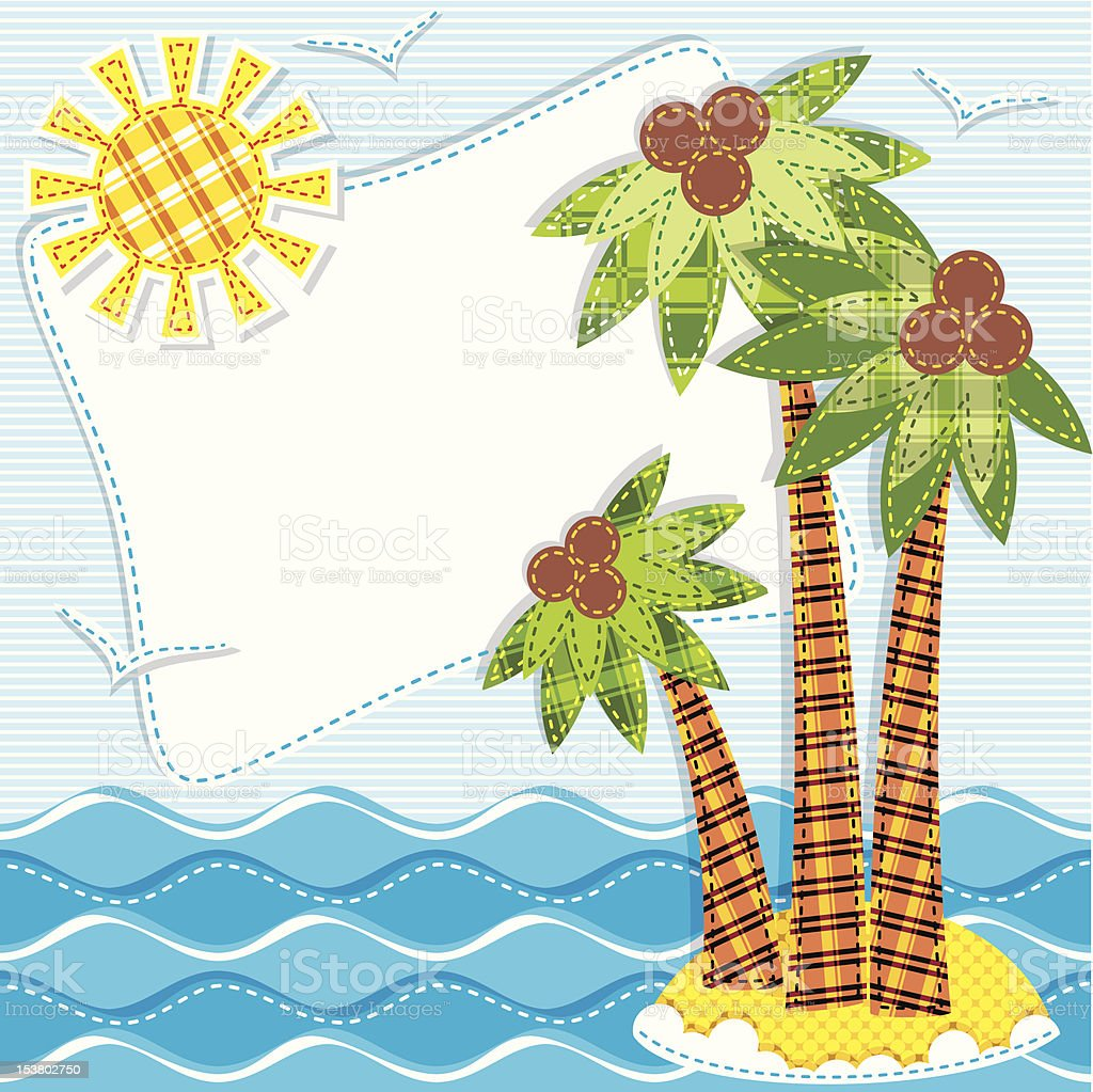 patchwork. palm trees royalty-free stock vector art