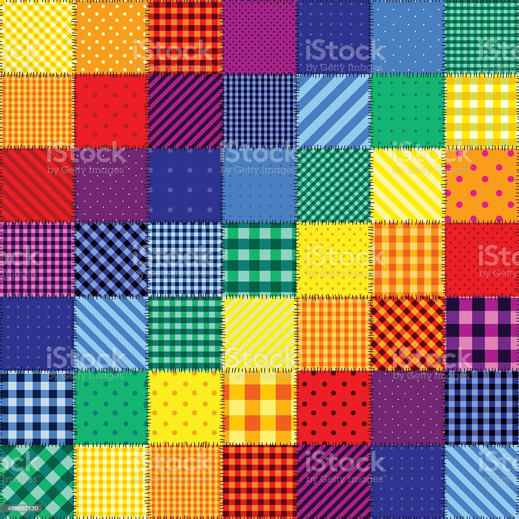 Patchwork pattern of rainbow colors vector art illustration