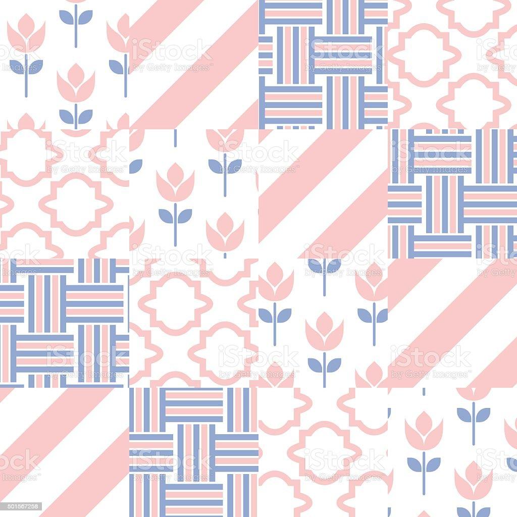 Patchwork quilt vector pattern tiles vector art illustration