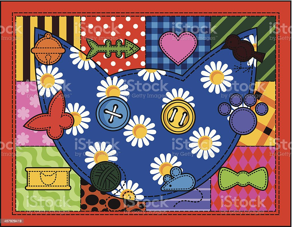 Patchwork Quilt with Cat royalty-free stock vector art