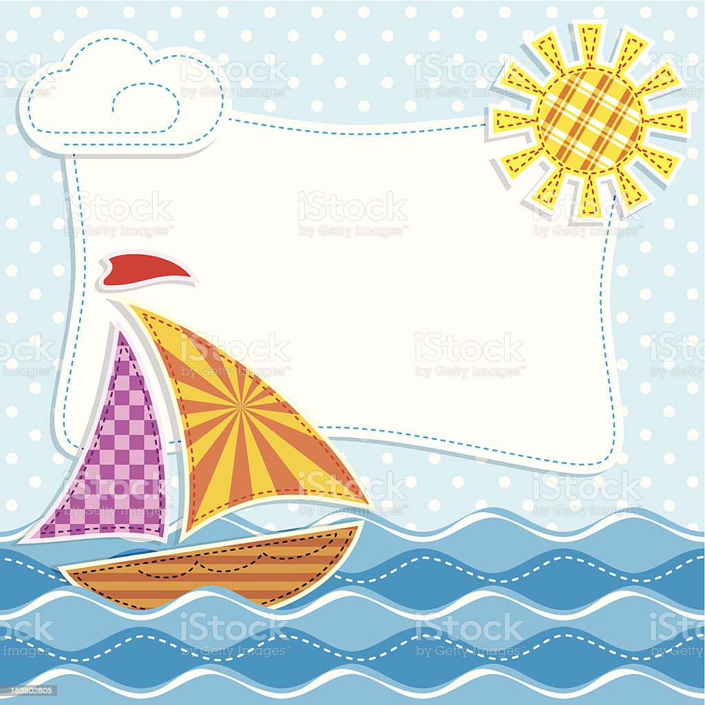 Patchwork. Sailing ship royalty-free stock vector art