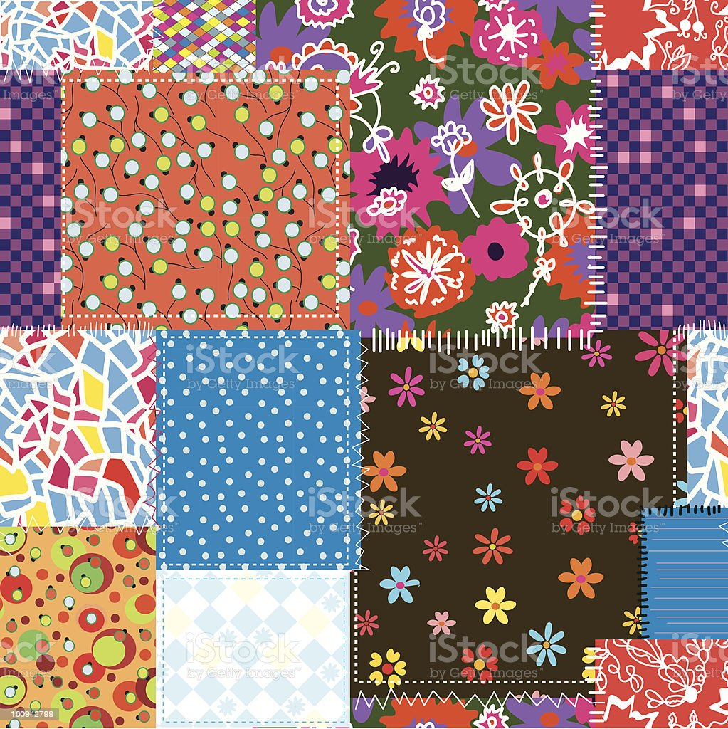 Patchwork sewing seamless pattern floral royalty-free stock vector art