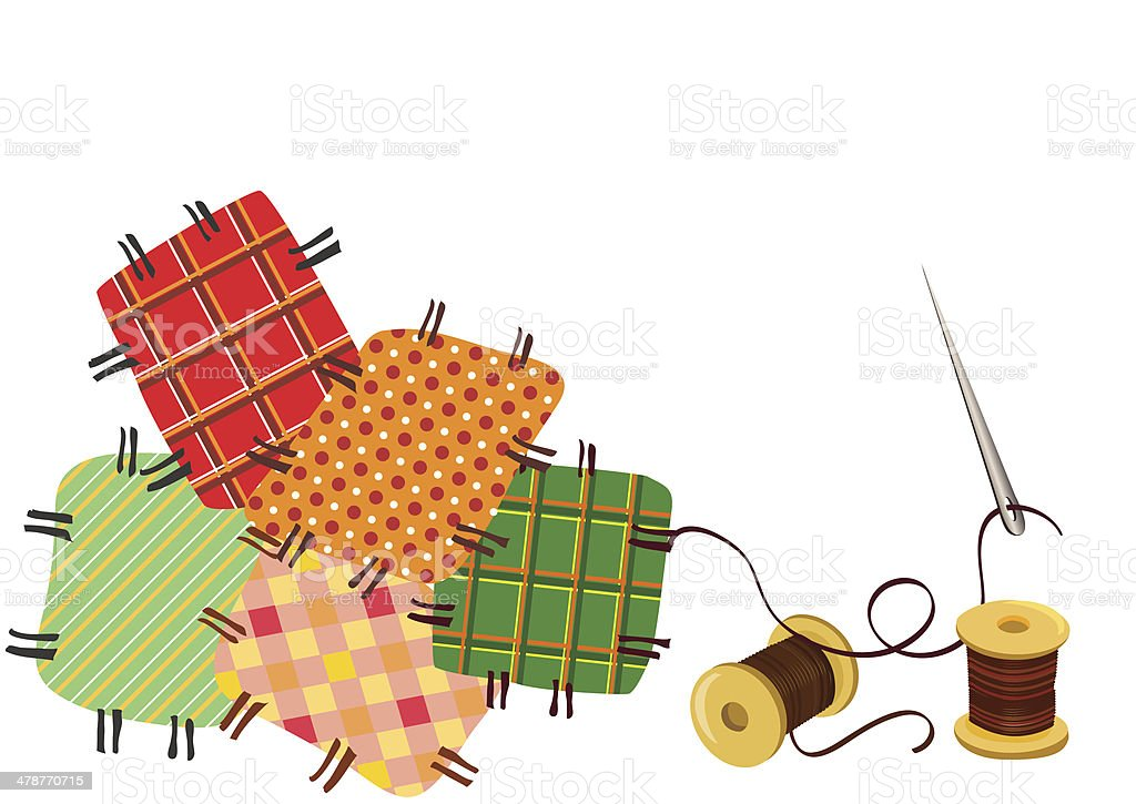 patchwork, sewing with a needle vector art illustration