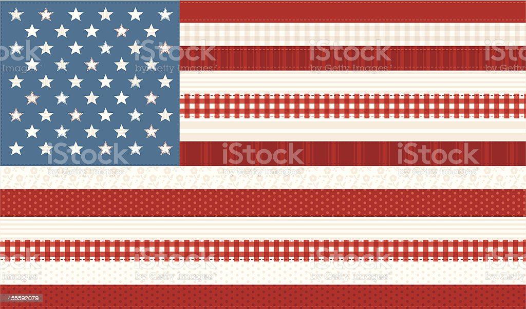 Patchwork Stars and Stripes royalty-free stock vector art