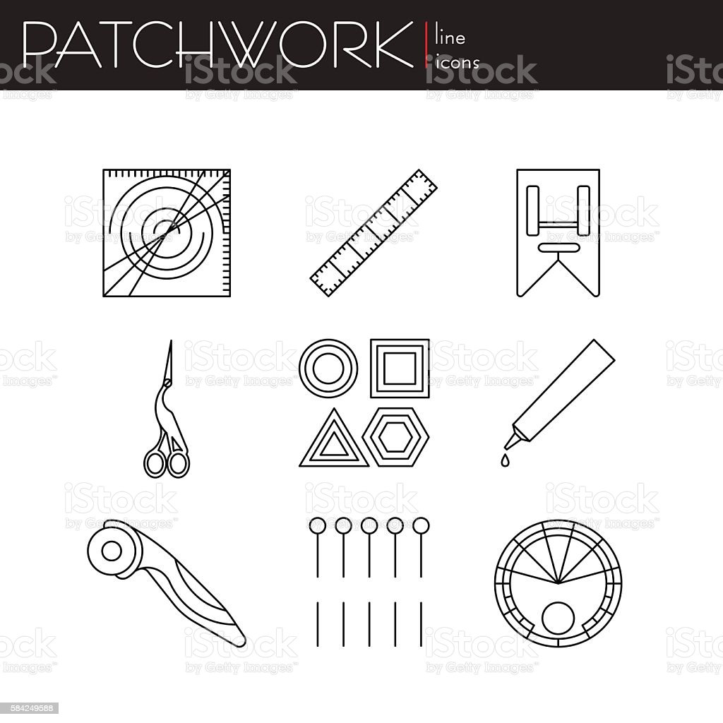 Patchwork - vector collection. Set of linear style. Abstract illustration. vector art illustration
