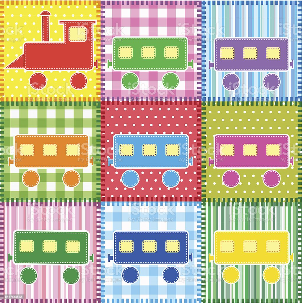 Patchwork with train royalty-free stock vector art