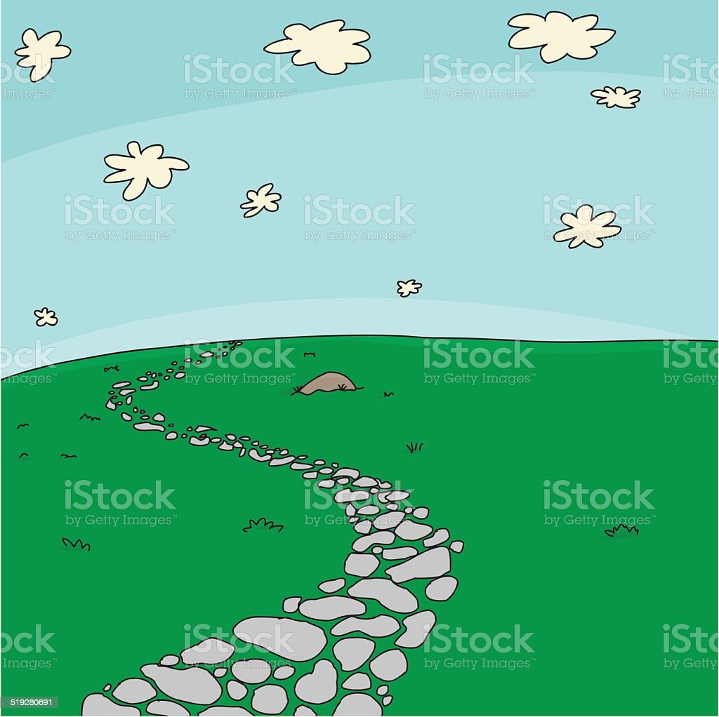 Path in Grass Background vector art illustration