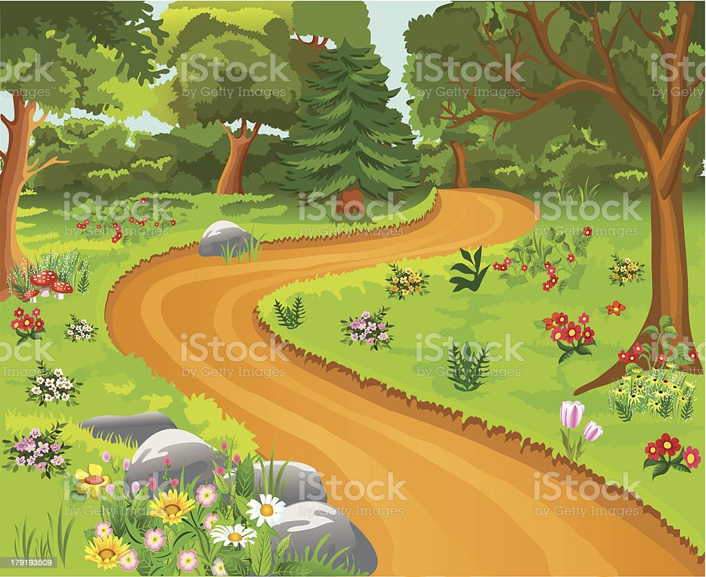 path in the forest royalty-free stock vector art