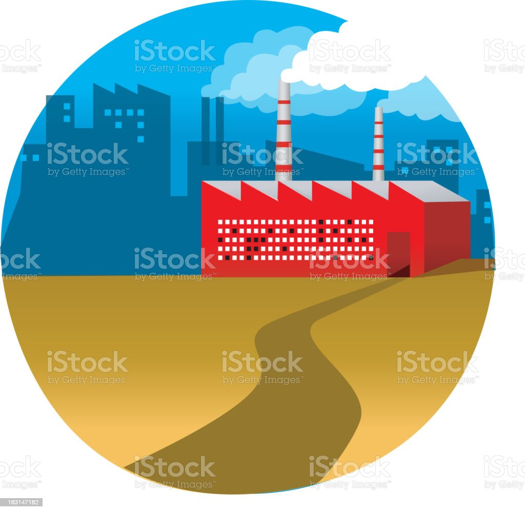 Path leading to a factory royalty-free stock vector art
