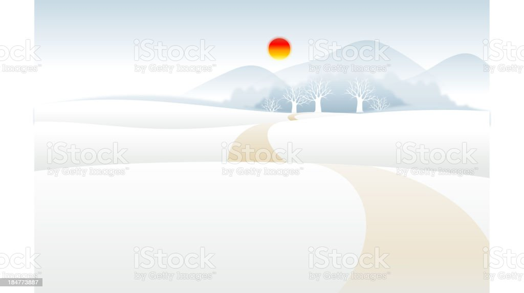 Path over Snow mountain landscape royalty-free stock vector art