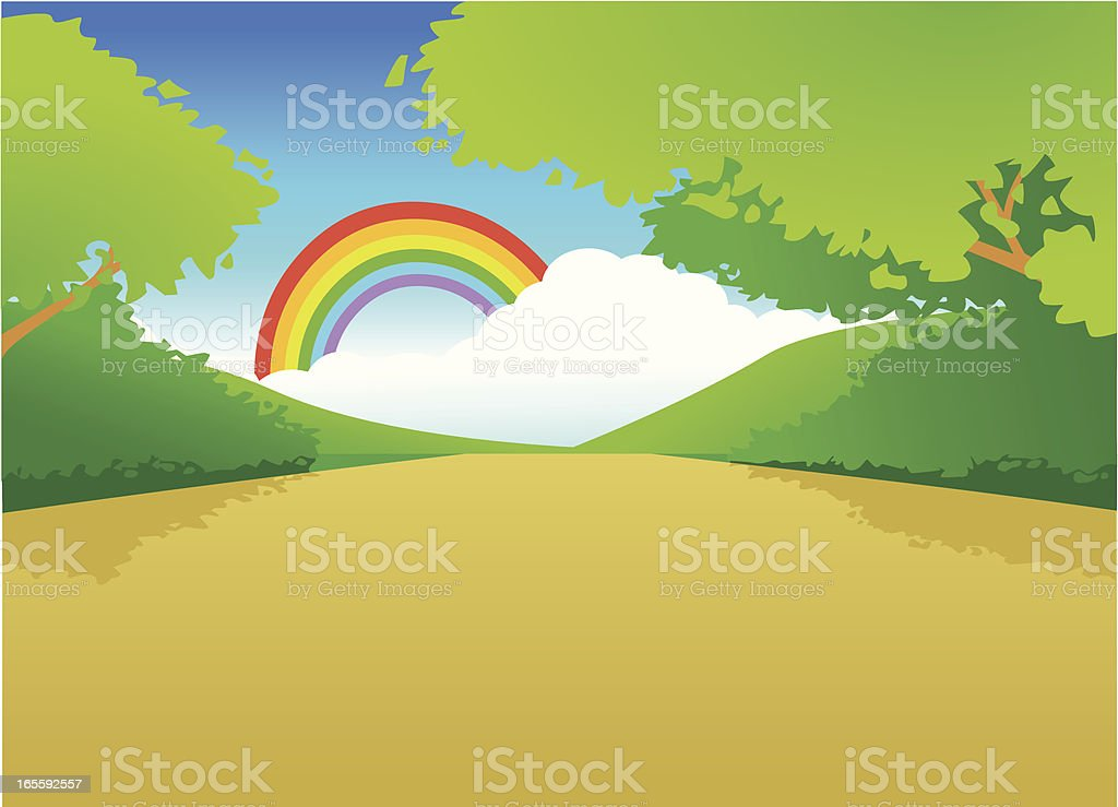 Path to nature vector art illustration