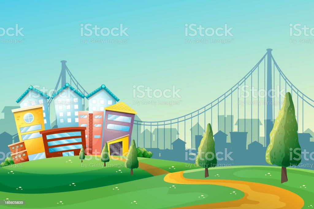 pathway going to colorful buildings in the city royalty-free stock vector art