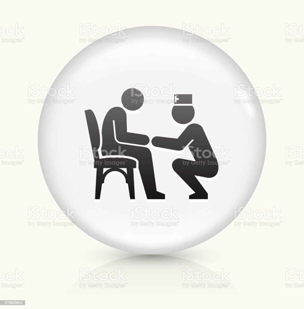 Patient and Male Nurse icon on white round vector button vector art illustration