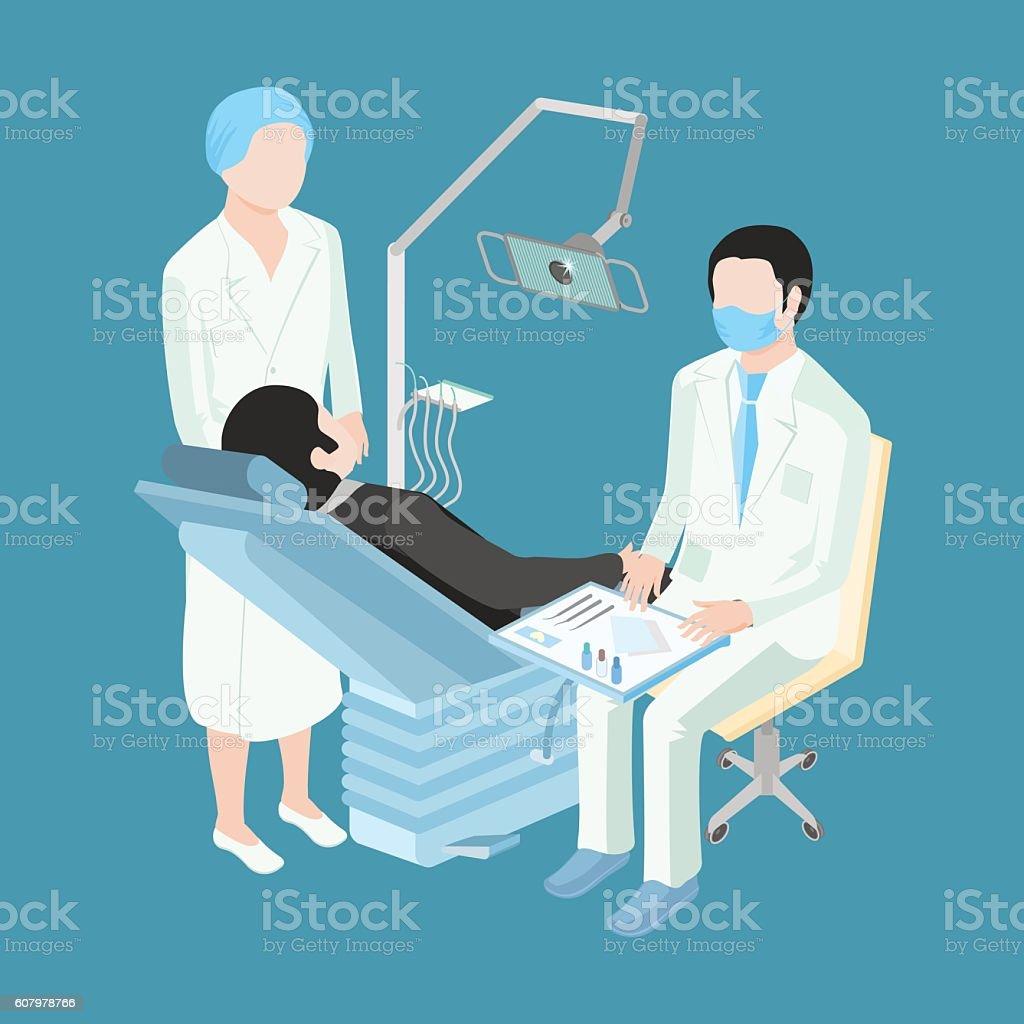 Patient at a reception at the dentist vector art illustration