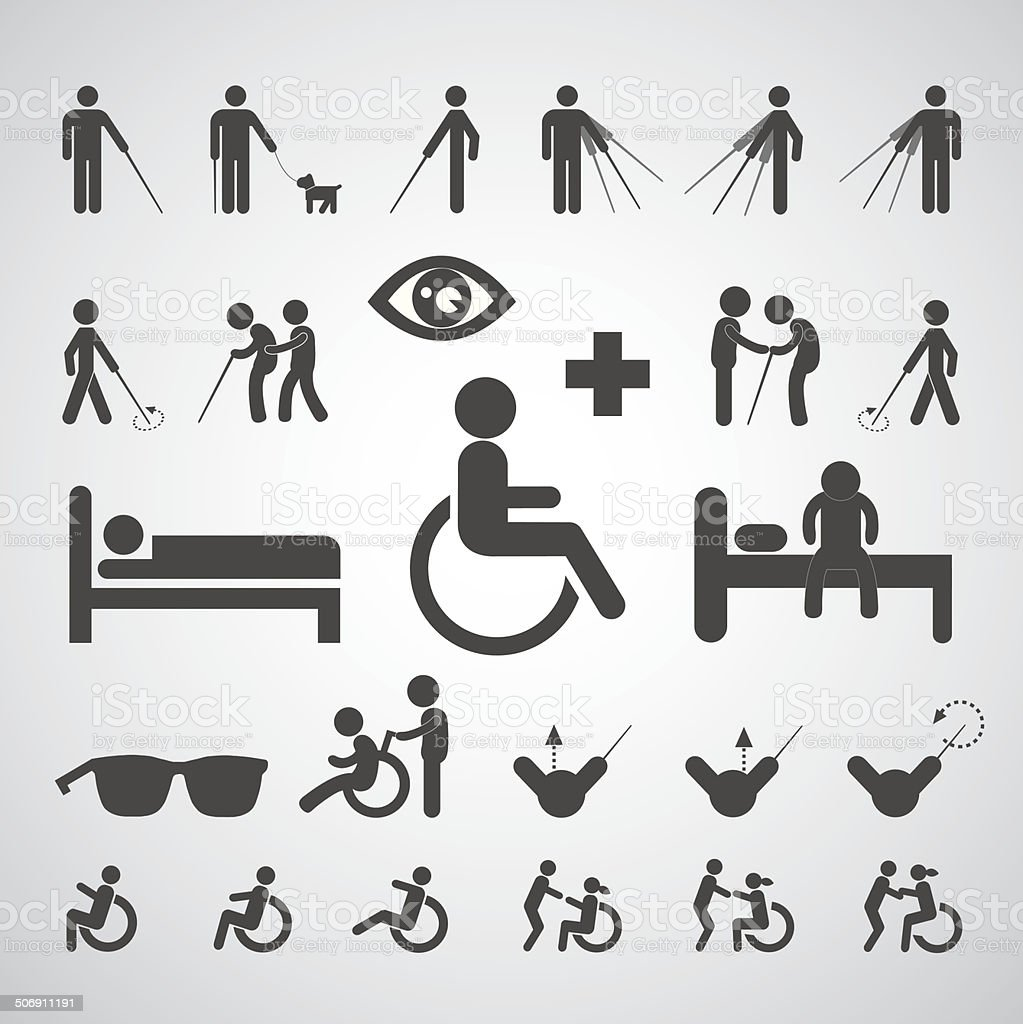 patient blind disabled and old man symbol vector art illustration