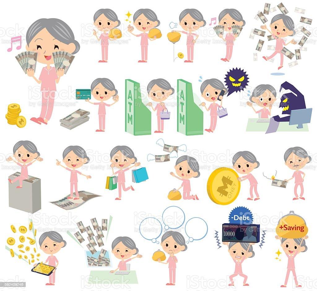 patient grandmother money vector art illustration