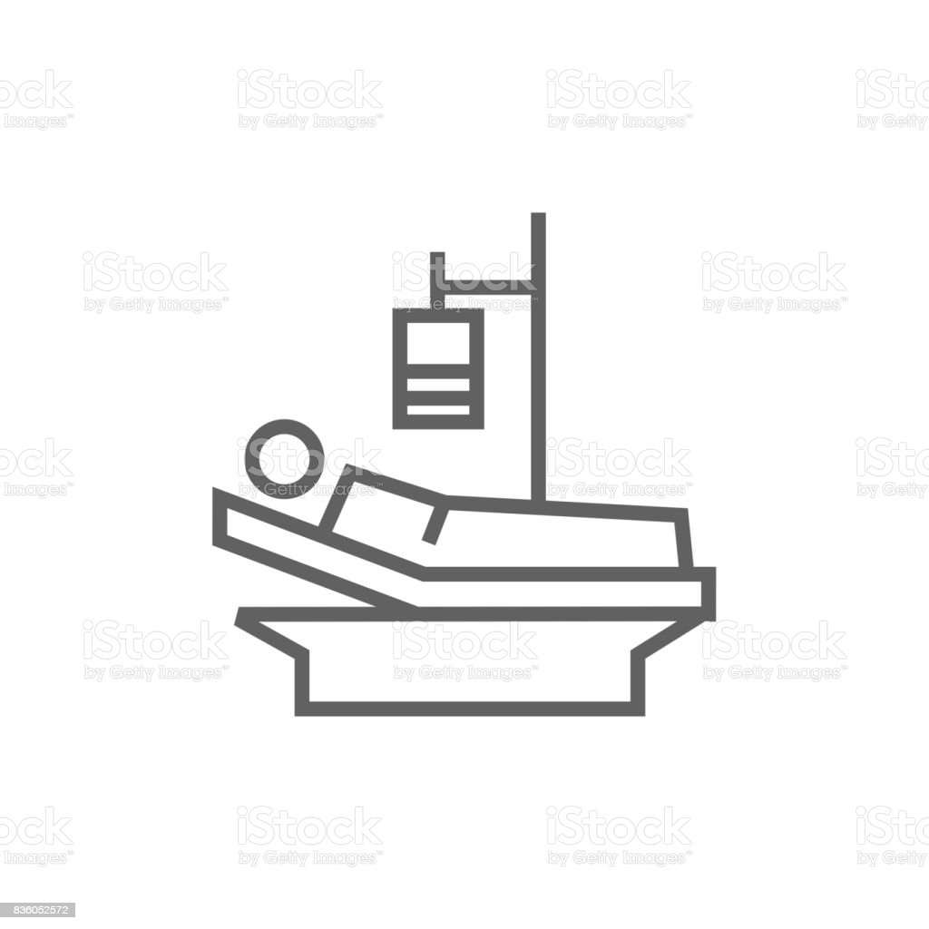 Patient lying on bed line icon vector art illustration