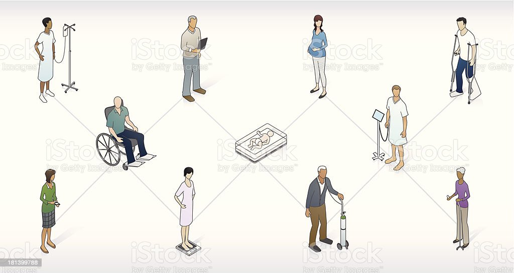 Patient Network Illustration royalty-free stock vector art