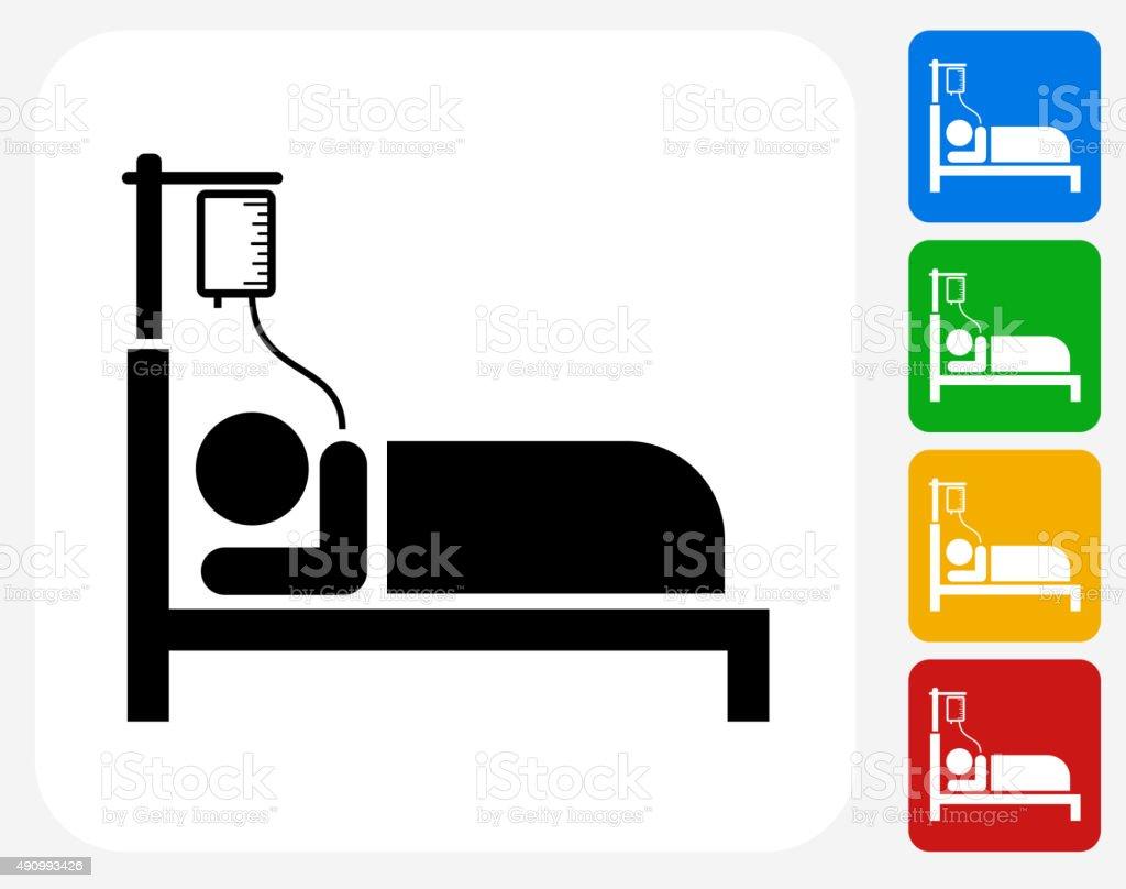 Patient on IV Icon Flat Graphic Design vector art illustration