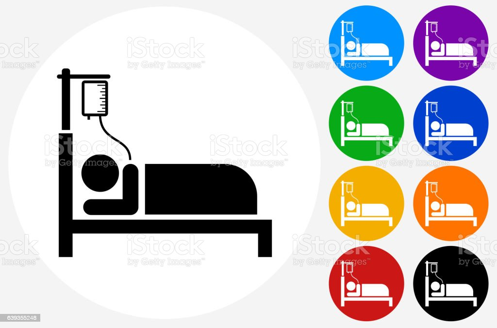 Patient on IV Icon on Flat Color Circle Buttons vector art illustration