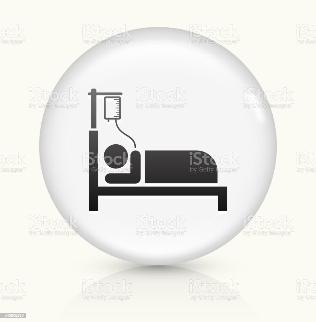 Patient on IV icon on white round vector button vector art illustration