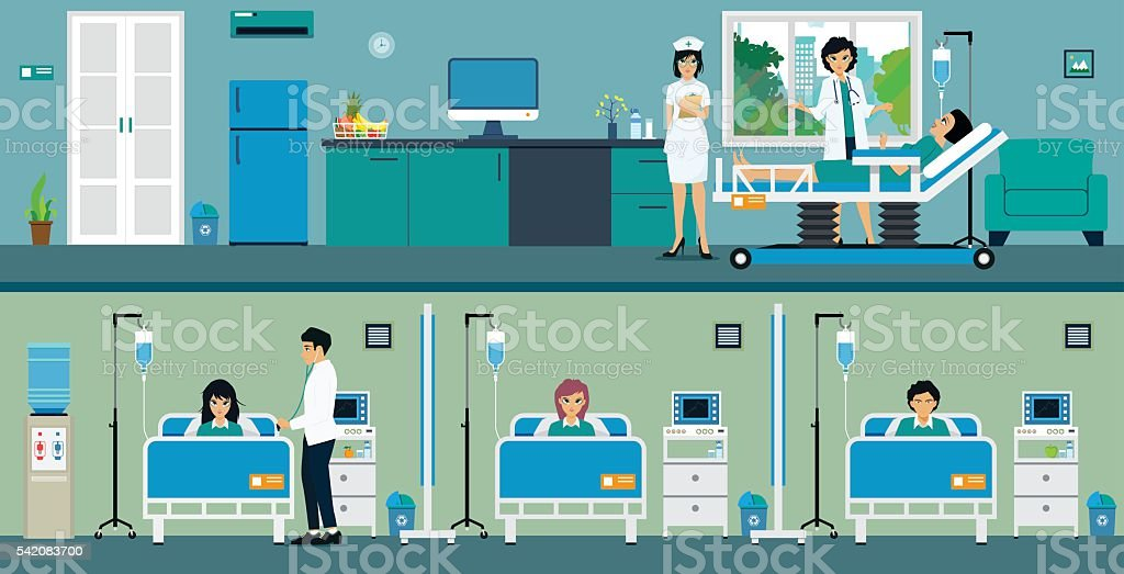 Patient room vector art illustration