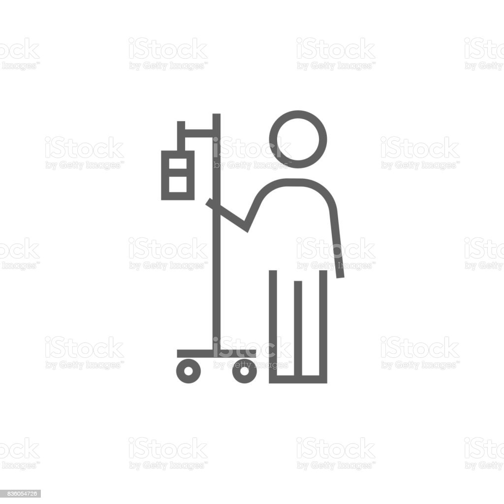 Patient standing with intravenous dropper line icon vector art illustration