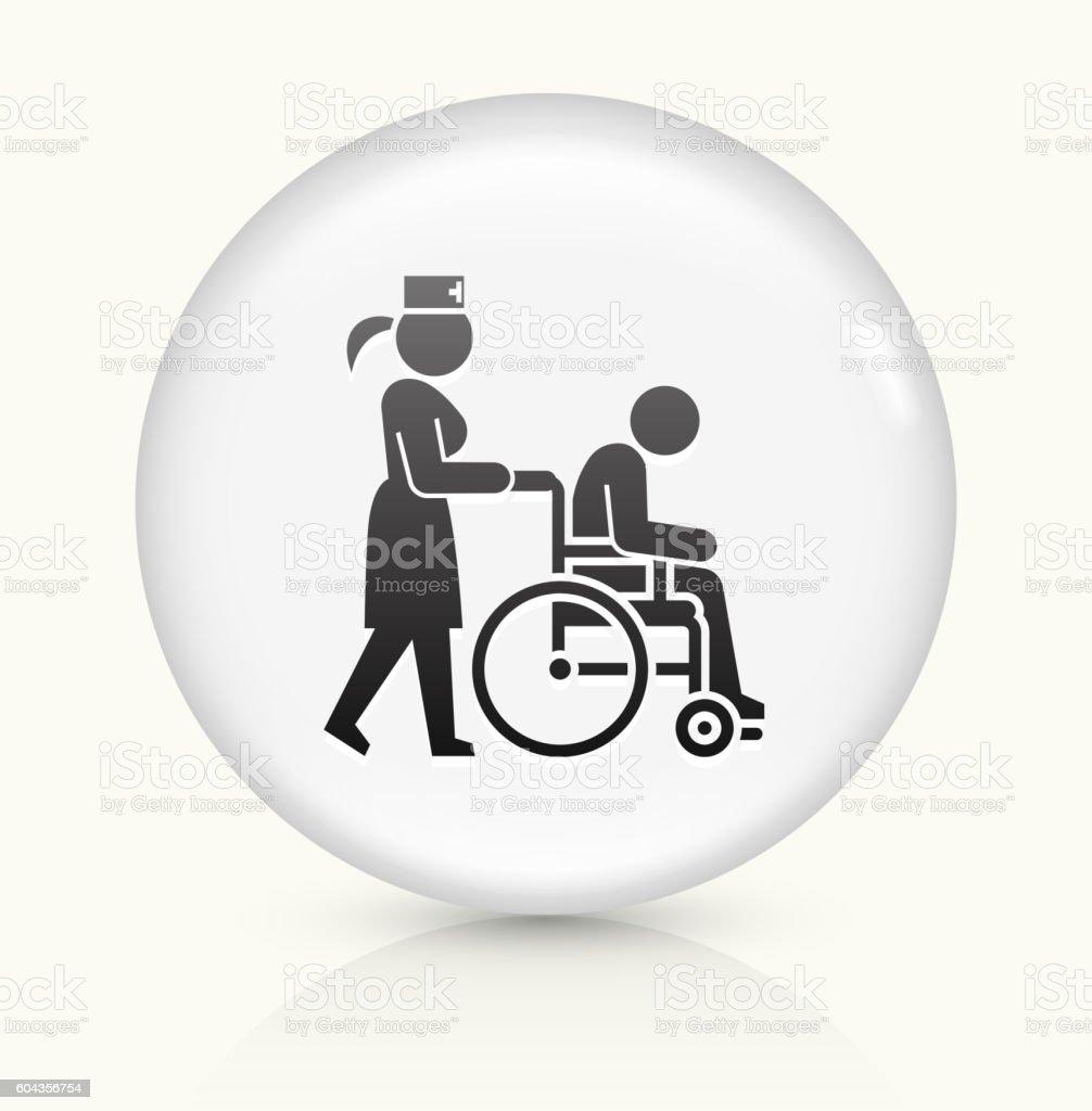 Patient Wheelchair  Female Nurse icon on white round vector button vector art illustration