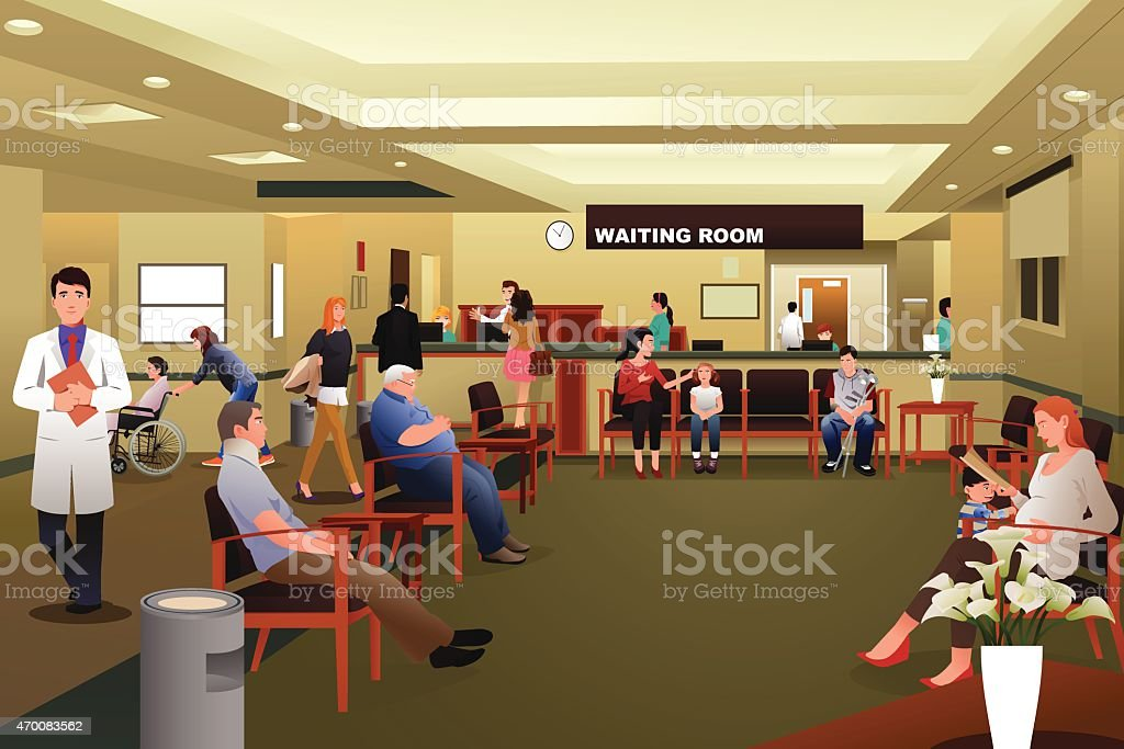 Patients waiting in a hospital waiting room vector art illustration