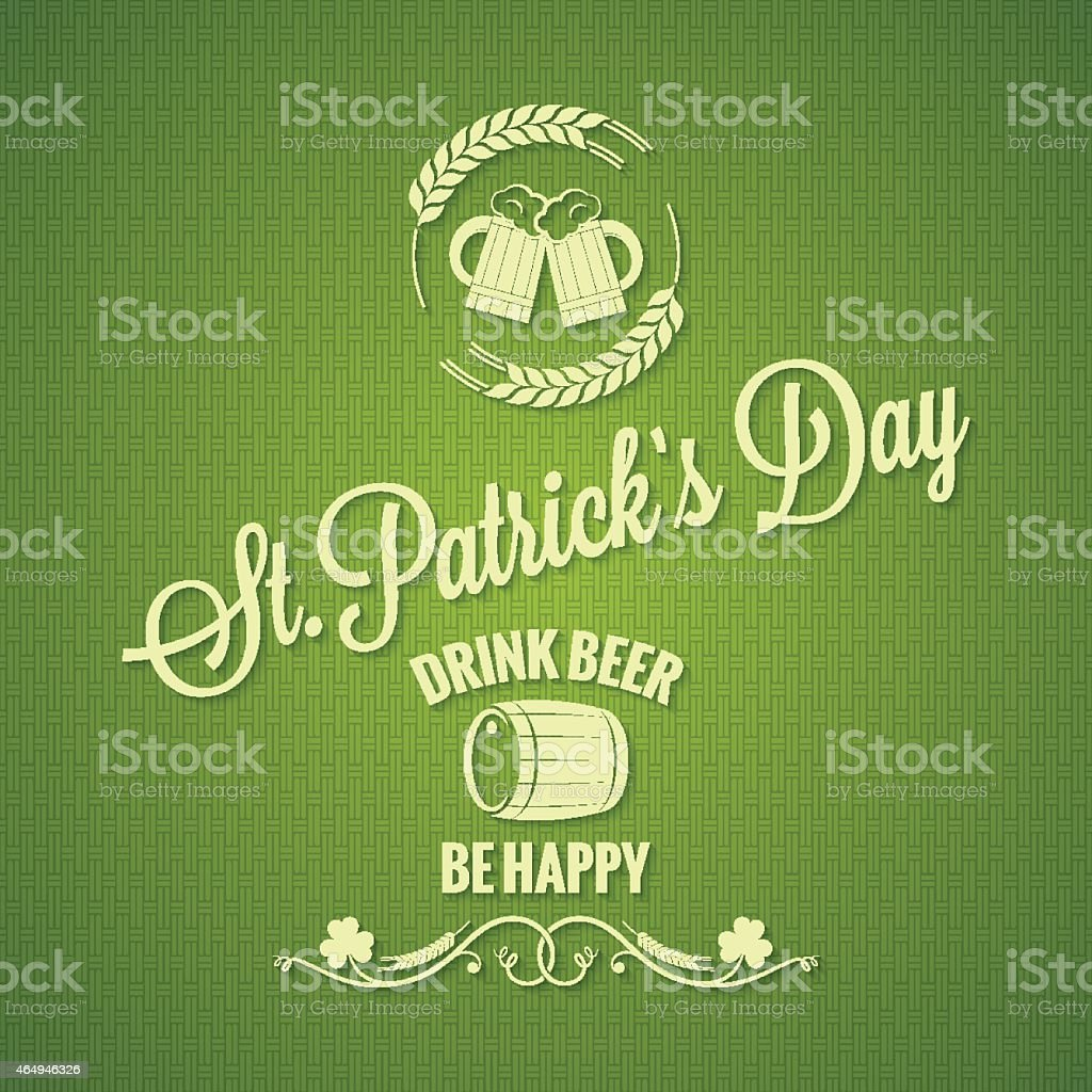 Patrick day beer design background vector art illustration