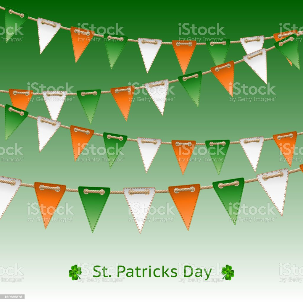 Patrick day card with flag garland royalty-free stock vector art