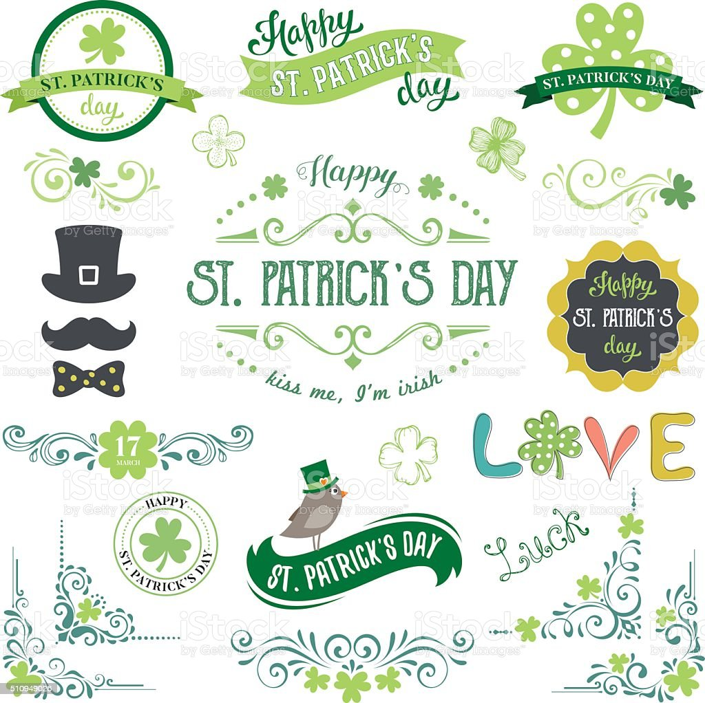 Patrick's Day Set vector art illustration