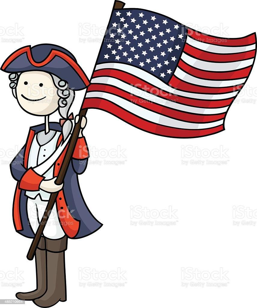 patriot boy in a 4th of July vector art illustration
