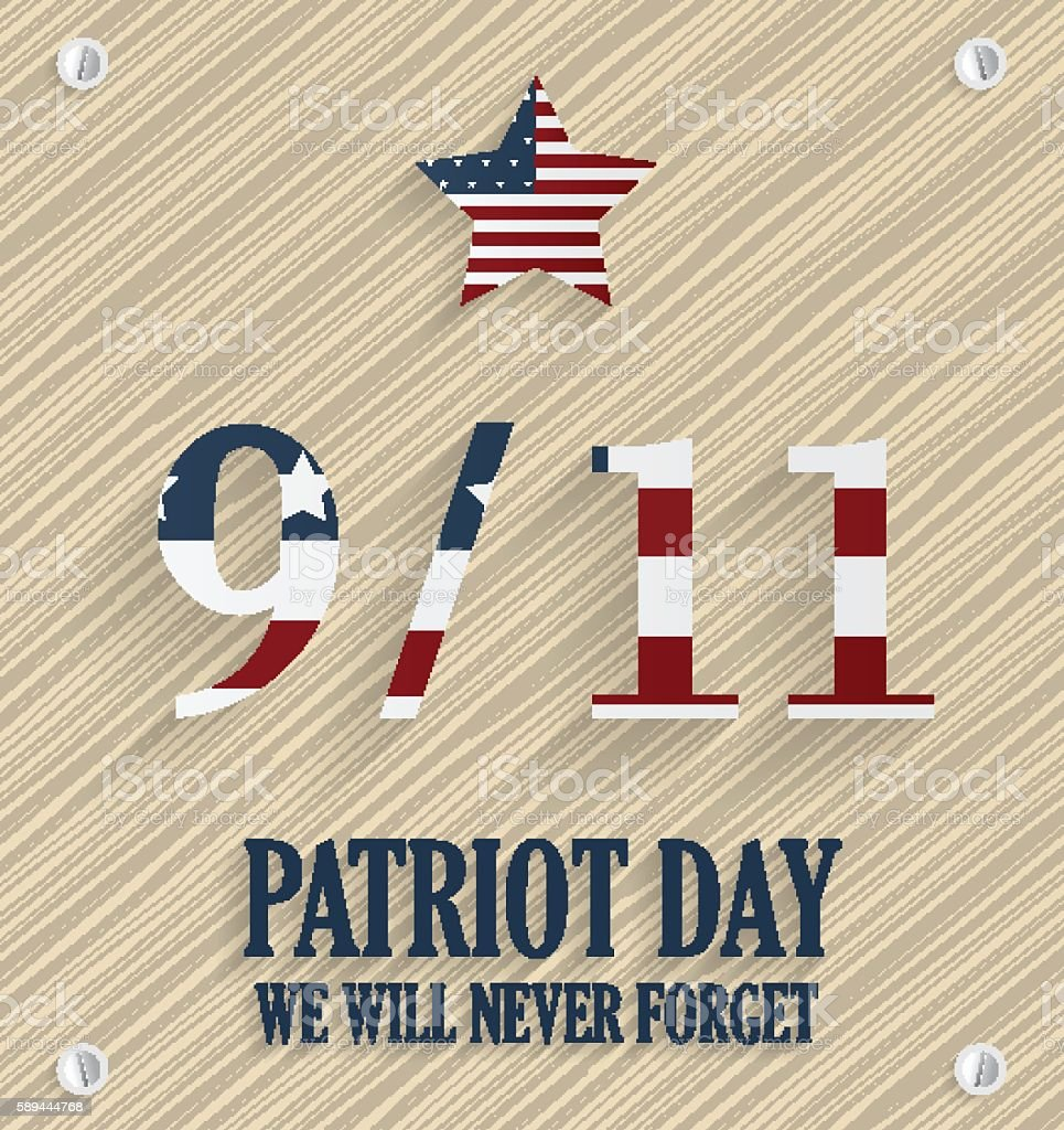 Patriot Day 9/11  poster. Wooden background. USA flag on numbers vector art illustration