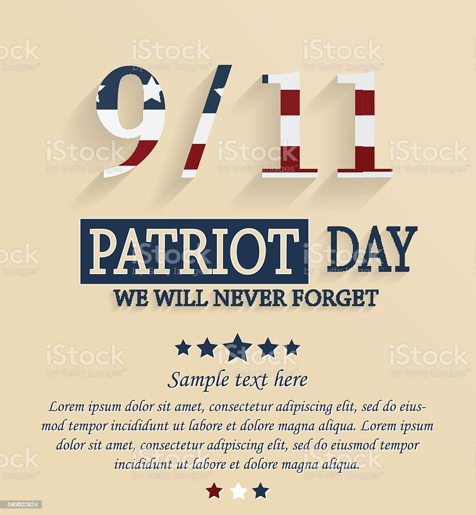 Patriot day card. 9/11 vector art illustration