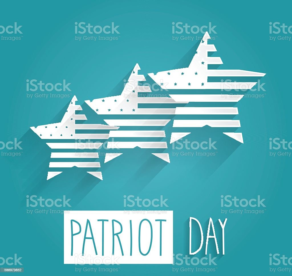 Patriot Day poster. Blue background with handwritten text vector art illustration