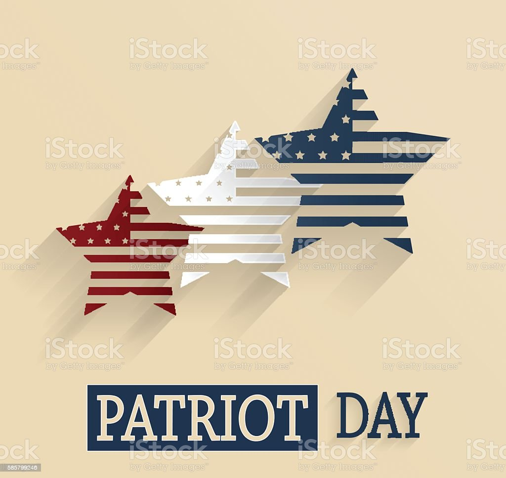 Patriot Day. Red, white and blue stars vector art illustration