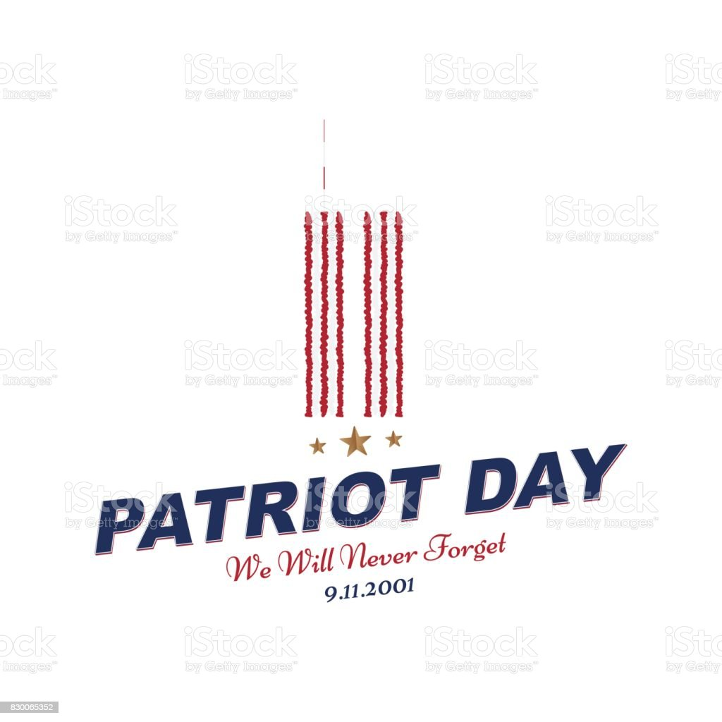 Patriot Day september 11. 2001 We will never forget. Typography with the twins tower on a white background. Vector font combination to the day of memory of the American people. Flat element EPS 10 vector art illustration