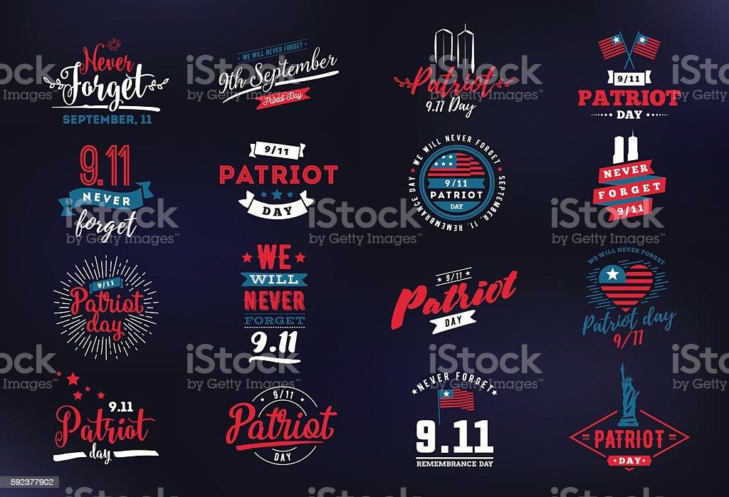 Patriot day vector typographic illustration vector art illustration
