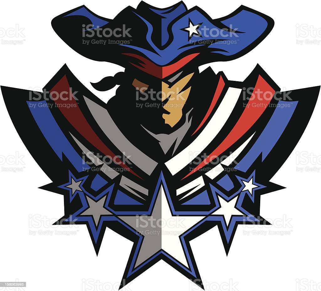 Patriot Mascot with Stars and Hat Graphic Vector Illustration vector art illustration
